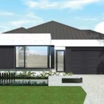 Contemporary black and white home with a square style.