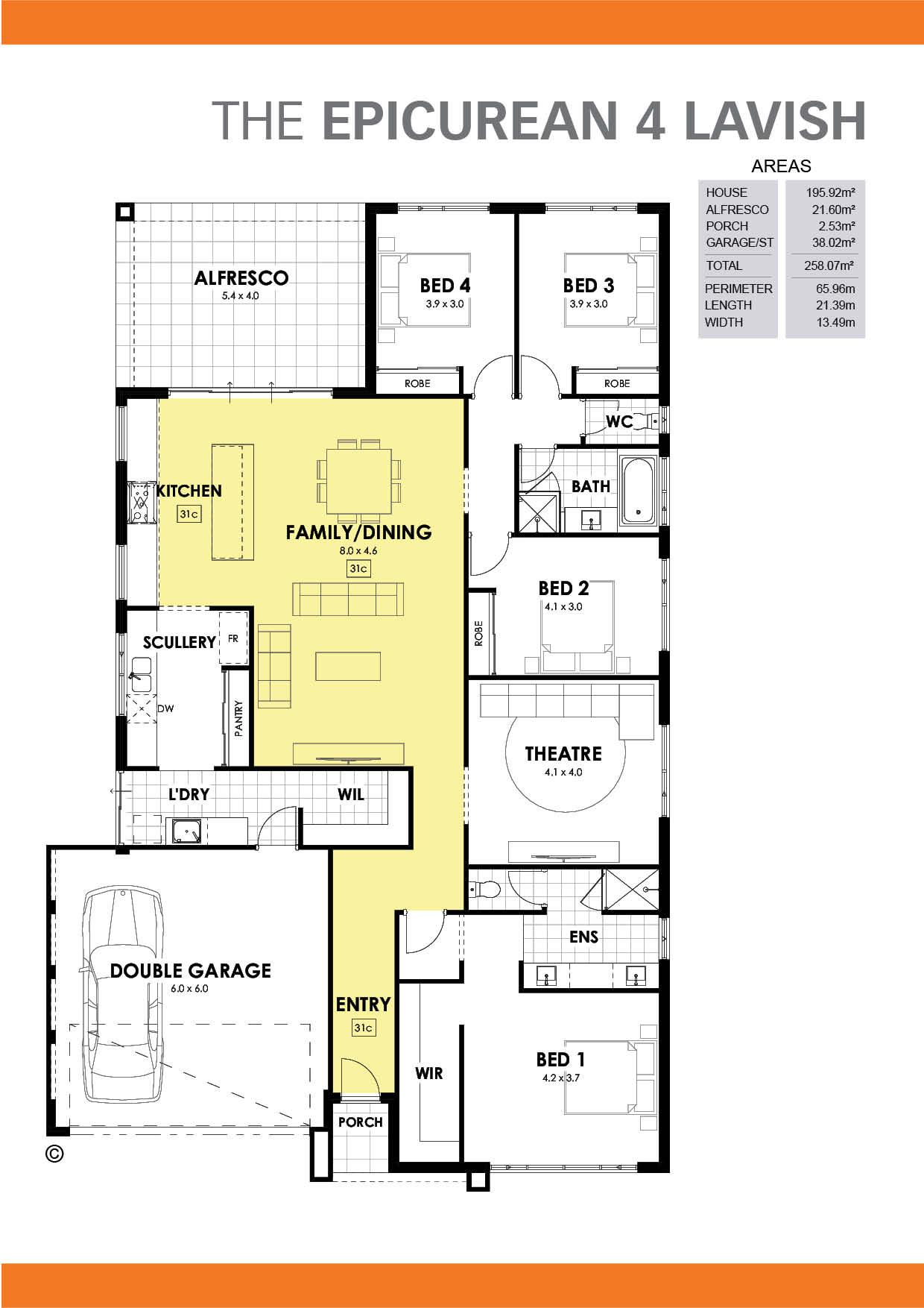 The Epicurean 4 Lavish Floorplan
