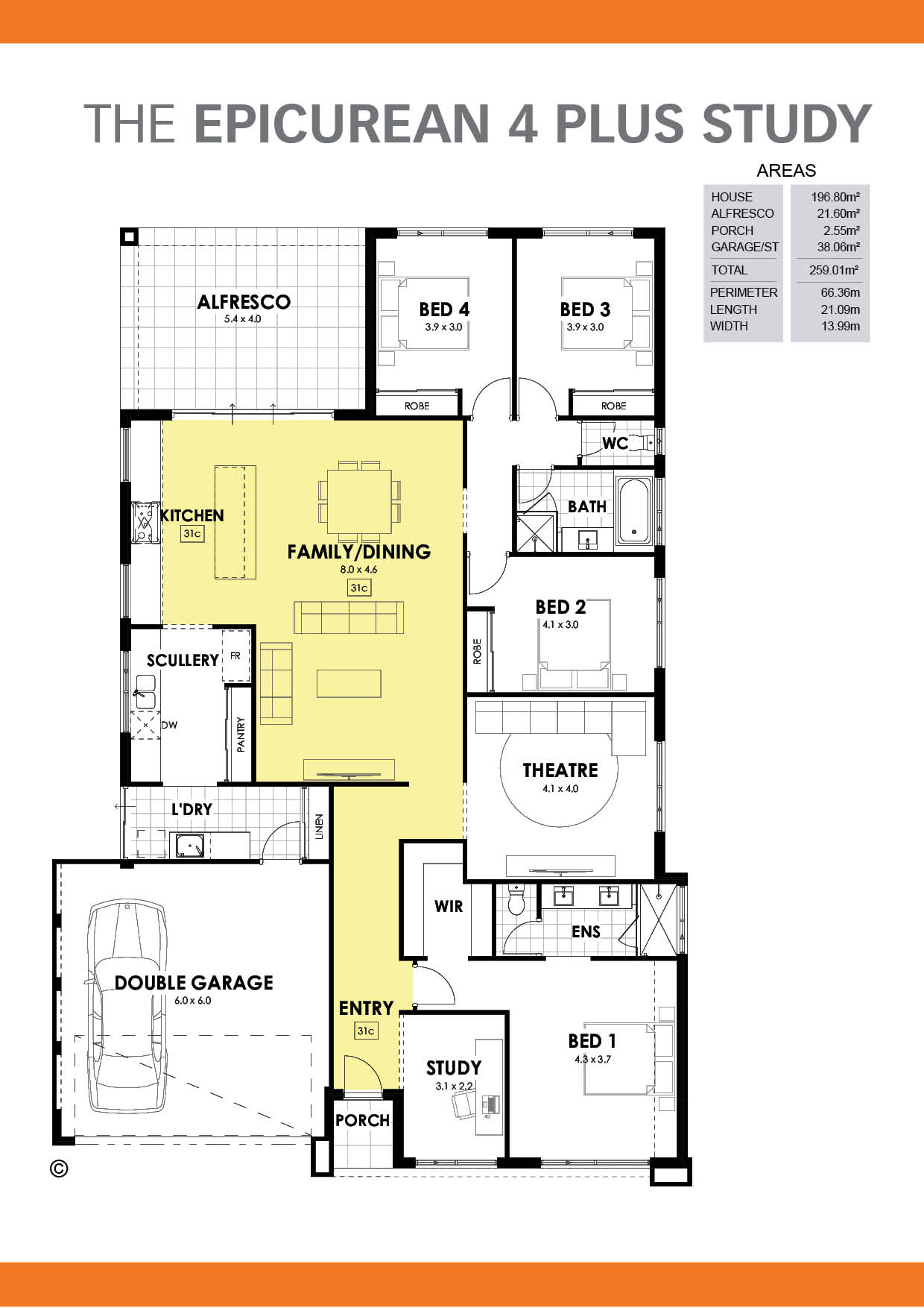 The Epicurean 4 + Study Floorplan