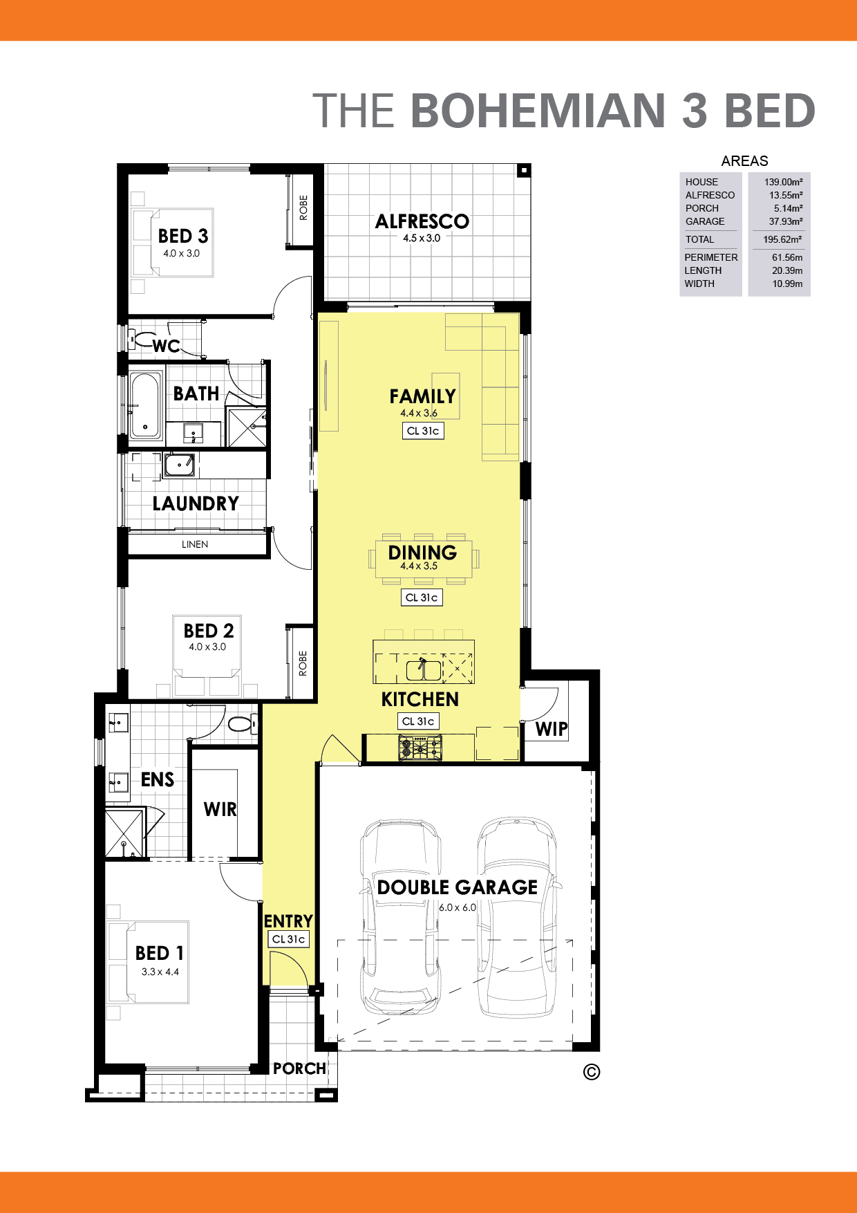The Bohemian 3 Floorplan