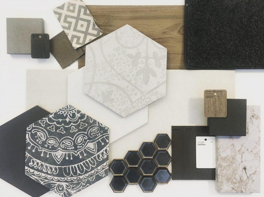 Design board showing various tiles