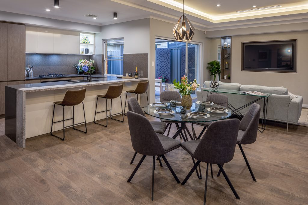 Kitchen and dining room with alfresco view